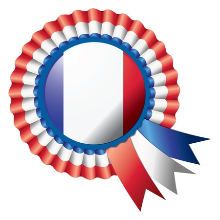 badge with ribbon: Detailed rosette flag of France