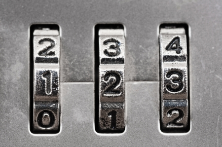 Macro of combination lock - dials set to 123,  Shallow DOF photo