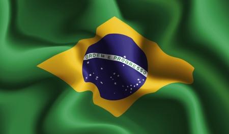brazilian: Satin Brazil waving flag Illustration