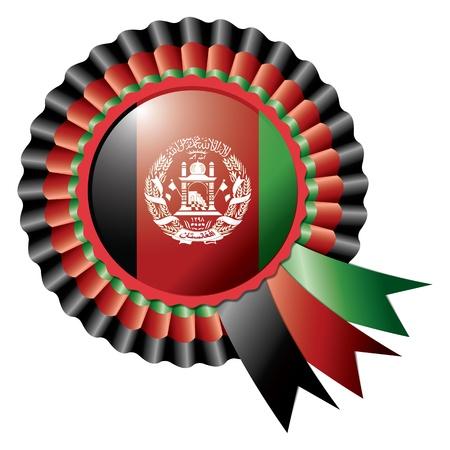 afghanistan: Afghanistan detailed silk rosette flag