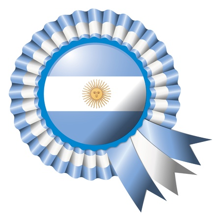 argentina flag: Argentina detailed silk rosette flag, eps10 vector illustration Illustration