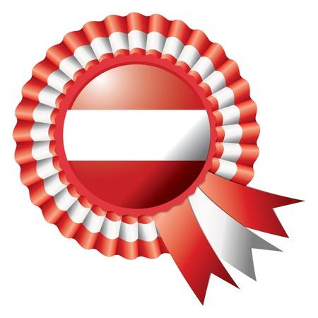 Austria detailed silk rosette flag Vector