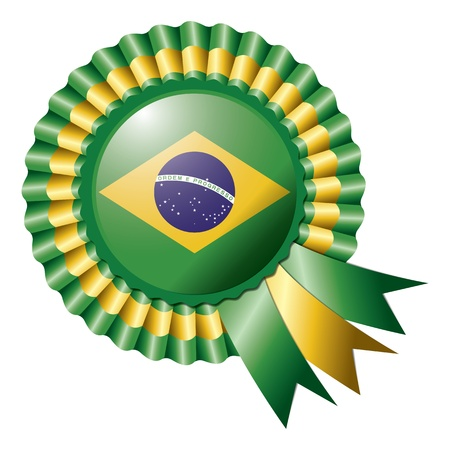 Brazil detailed silk rosette flag Vector