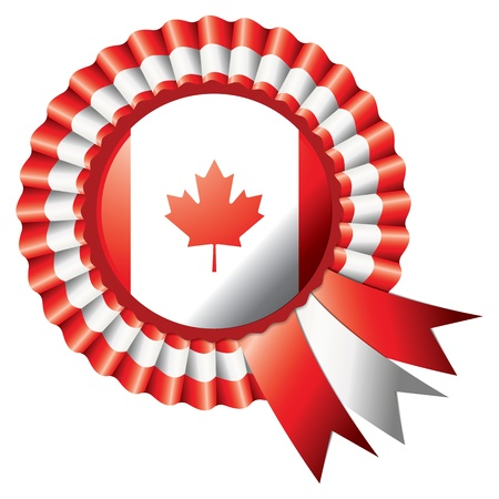 Canadian detailed silk rosette flag Vector