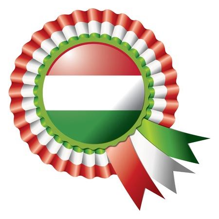 Hungary detailed silk rosette flag, eps10 vector illustration Illustration
