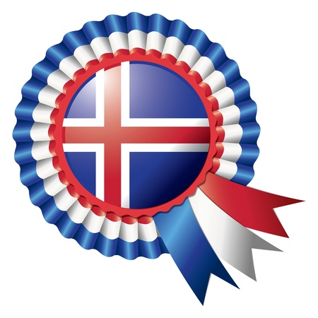 Iceland detailed silk rosette flag, eps10 vector illustration Vector