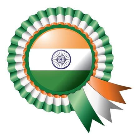 bandera de LA INDIA: India, la seda detallada bandera de roseta, eps10 ilustración vectorial