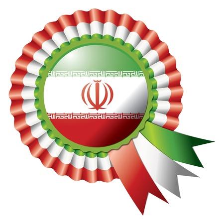 Iran detailed silk rosette flag, eps10 vector illustration