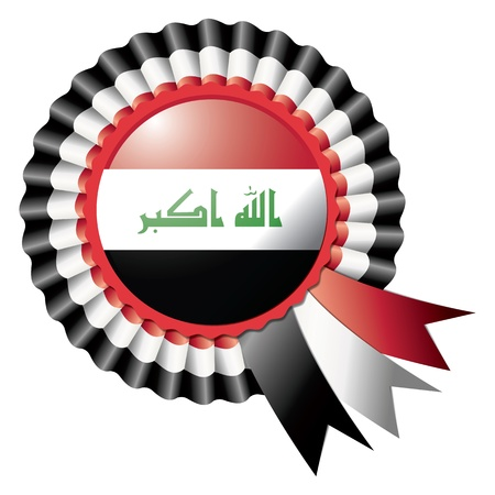 iraq: Iraq detailed silk rosette flag, eps10 vector illustration