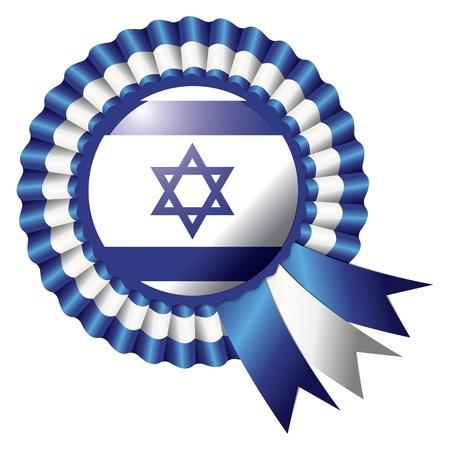 Israel detailed silk rosette flag Illustration