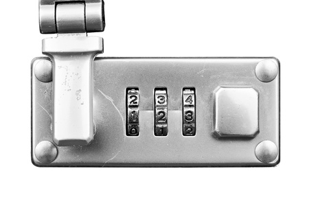 Macro of  suitcase or travel bag combination lock isolated over white - dials set to 123,  Shallow Focus photo