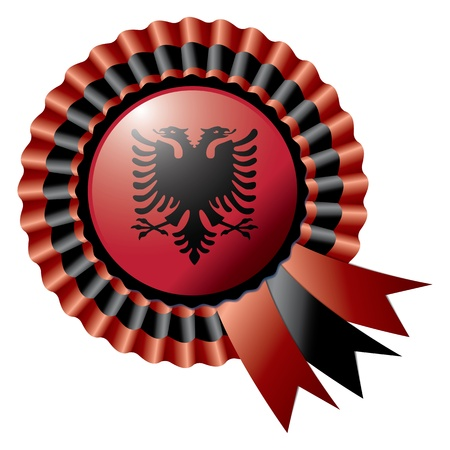Albania detailed silk rosette flag Vector