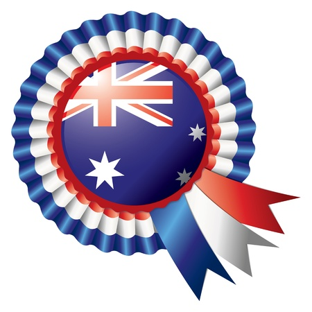 badge with ribbon: Australia detailed silk rosette flag Illustration