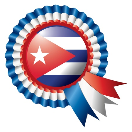 badge with ribbon: Cuba detailed silk rosette flag