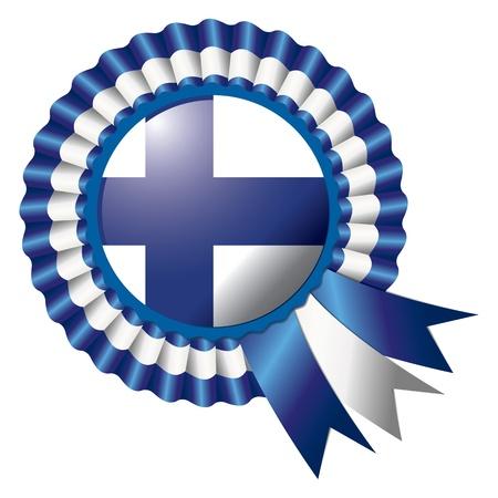rosette: Finland detailed silk rosette flag, eps10 vector illustration Illustration