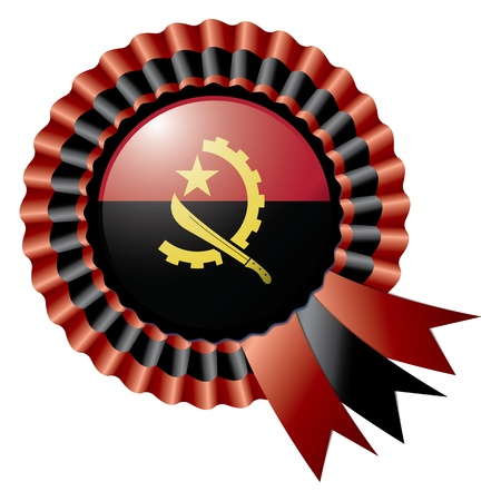 Angola detailed silk rosette flag illustration Vector