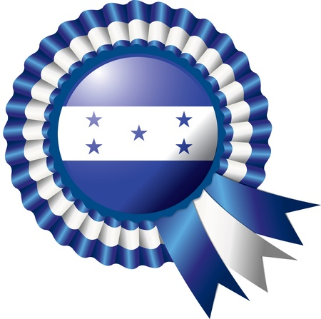 Honduras detailed silk rosette flag illustration Vector