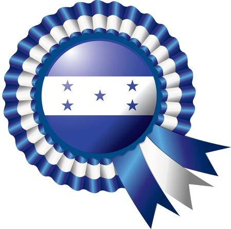 bandera honduras: Honduras roseta detallada seda bandera ilustración Vectores