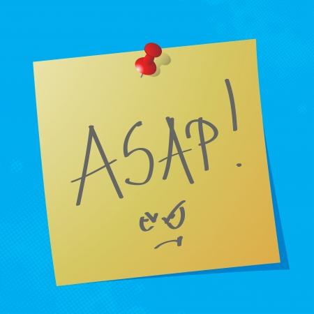 sticky paper: asap handwriten acronym message on sticky paper, eps10 vector illustration