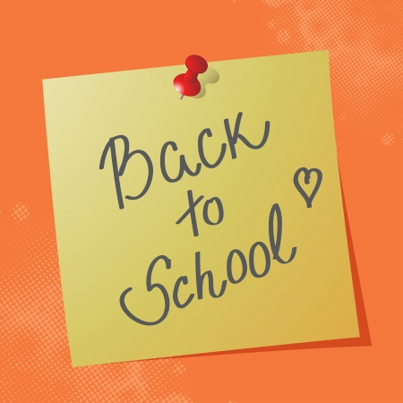 sticky paper: Back to School handwritten message on sticky paper, eps10 vector illustration