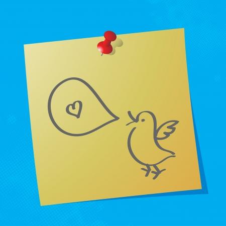little bird: peque�o p�jaro con la mano de la burbuja del discurso elaborado mensaje sobre papel adhesivo, eps10 ilustraci�n vectorial