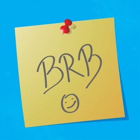 brb handwritten acronym message on sticky paper, eps10 vector illustration Stock Vector - 15139839