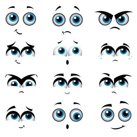 cautious: Cartoon faces with various expressions, vector illustration Illustration