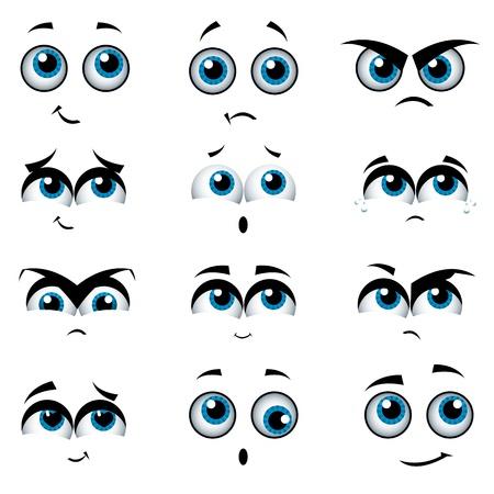 Twarze kreskówek z różnych wyrażeń, ilustracji wektorowych