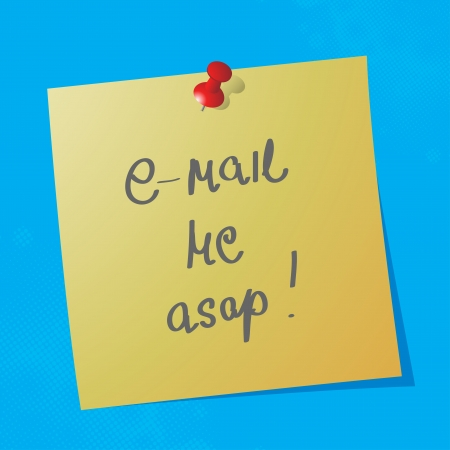 e-mail me asap handwritten message on sticky paper, eps10 vector illustration