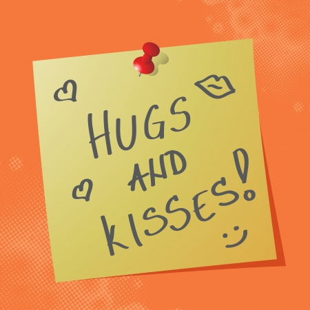 hugs and kisses handwritten message on sticky paper, eps10 vector illustration Vectores