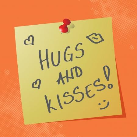 hugs and kisses handwritten message on sticky paper, eps10 vector illustration Illustration