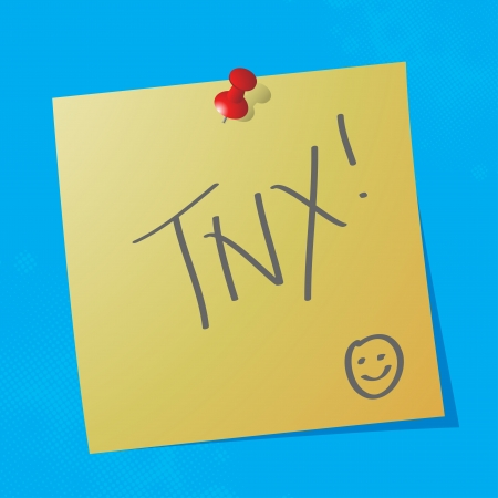 sticky paper:  tnx handwritten acronym message on sticky paper, eps10 vector illustration