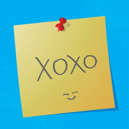 xoxo:  xoxo handwritten acronym message on sticky paper, eps10 vector illustration