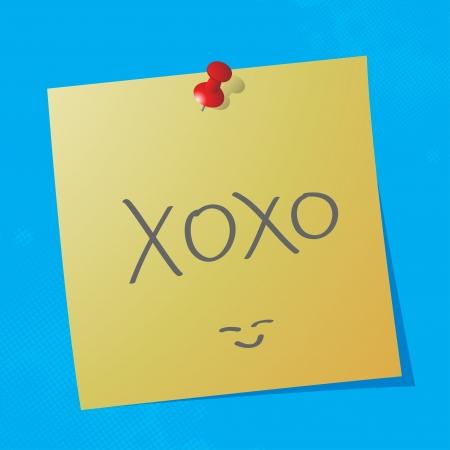 sticky paper:  xoxo handwritten acronym message on sticky paper, eps10 vector illustration
