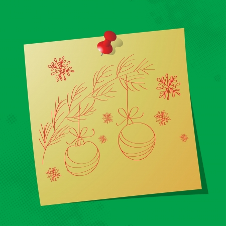 christmas ornaments hand drawn message on sticky paper Stock Vector - 16062887