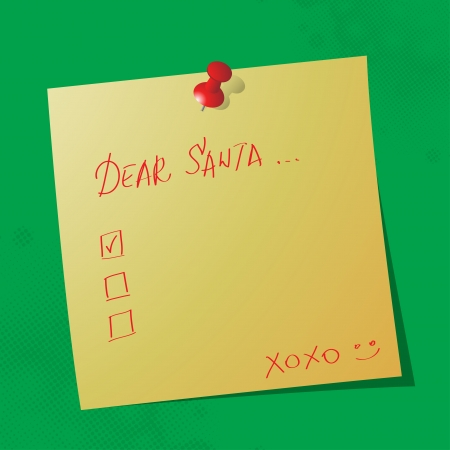 paper pin: dear santa handwritten message on sticky paper Illustration