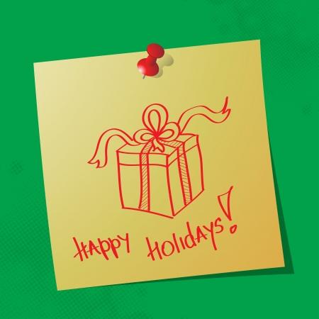 sticky paper: happy holidays handwritten message on sticky paper Illustration
