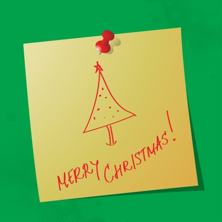 merry christmas handwritten message on sticky paper Stock Vector - 16062890