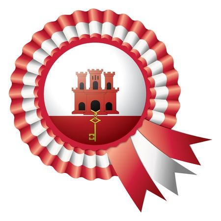 gibraltar: Gibraltar detailed silk rosette flag, eps10 vector illustration