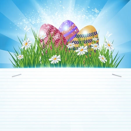 Colorful Easter eggs decorated with flowers in the grass on blue sky rays background and lined paper copy-space, illustration  Stock Vector - 17576145