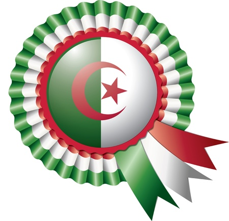 Algeria detailed silk rosette flag,  illustration Vector