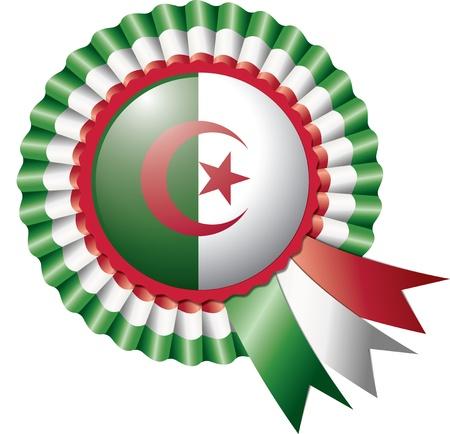 Algeria: Algeria detailed silk rosette flag,  illustration