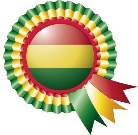 bandera de bolivia: Bolivia seda detallado bandera roseta, ilustraci�n