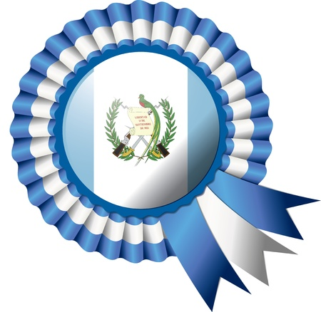 guatemala: Guatemala detailed silk rosette flag,  illustration