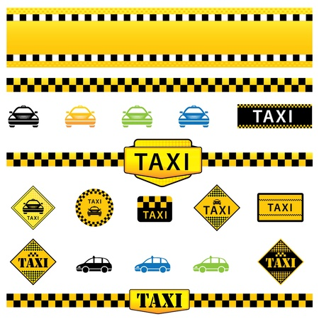 taxis: Vector Set of Taxi Icons, Signs and Labels, eps10 illustration