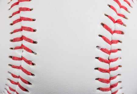 Baseball Ball macro on Stitches suitable as framed  Stock Photo