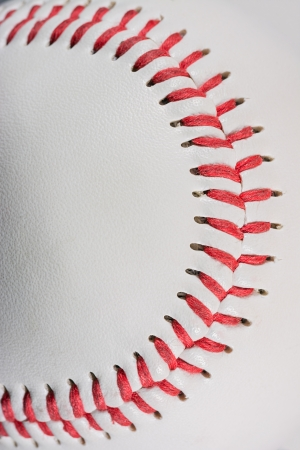red stitches: Baseball Ball macro on Stitches suitable as framed  Stock Photo