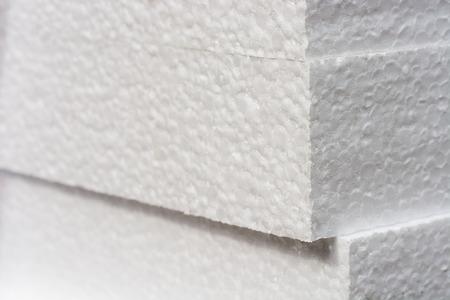 Polystyreen isolatieplaten achtergrond met copyspace en geaccentueerde scherpte aan de randen