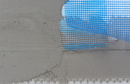 polystyrene: Polystyrene insulation boards covered with mesh covered and mortar