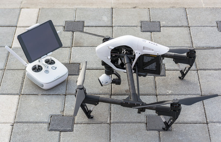 video still: Zrenjanin, SERBIA: October 2015, Image of the Dji Inspire 1 drone UAV quadcopter which shoots 4k video and 12mp still images and is controlled by wireless remote with a range of 4km Editorial